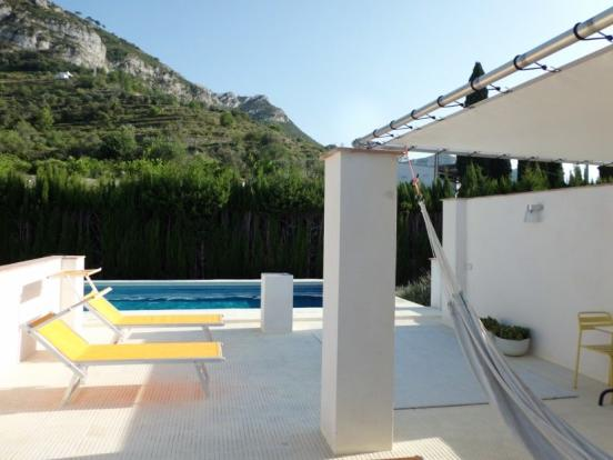 Side terrace and pool view