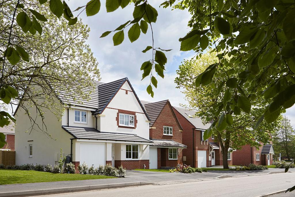 Family Homes Overlooking Green Open Space In Yarnfield