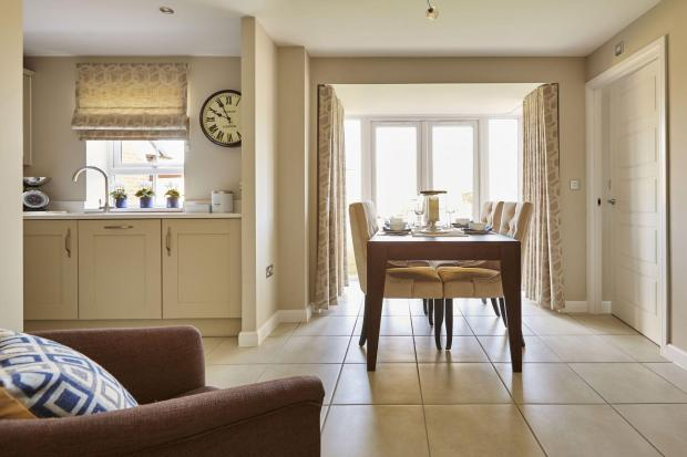 Yarnfield Park Somerfield show home dining area to the fitted kitchen