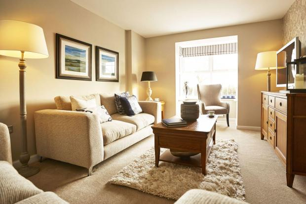 Yarnfield Park Somerfield show home lounge with bay window