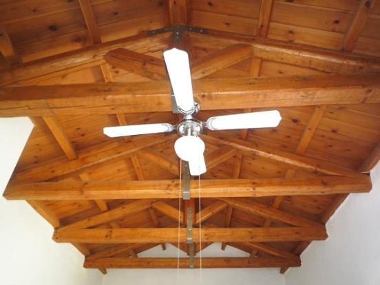 Wood-beamed ceiling