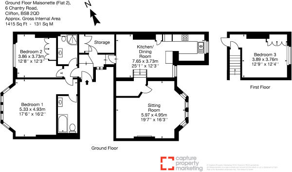 Ground Floor Maisonette (Flat 2), 6 Chantry Road, Clifton, BS8 2QD-Layout1