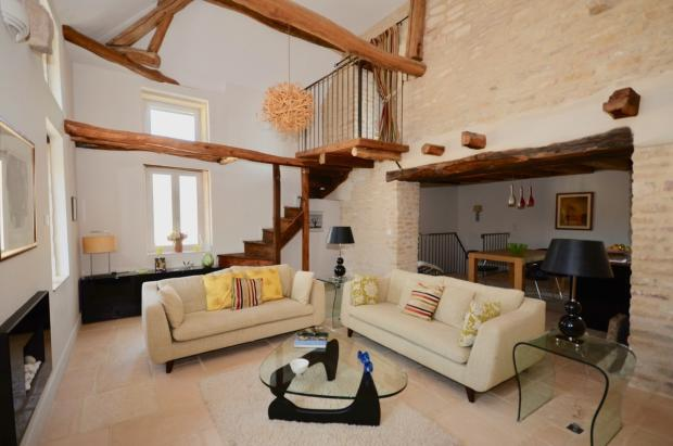 large living room with mezzanine office
