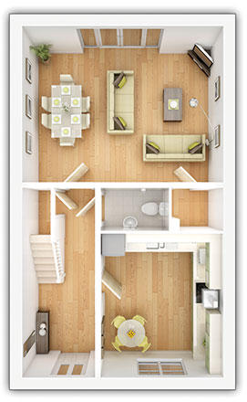 Taylor Wimpey - The Kempsford - 4 bedroom ground floor plan