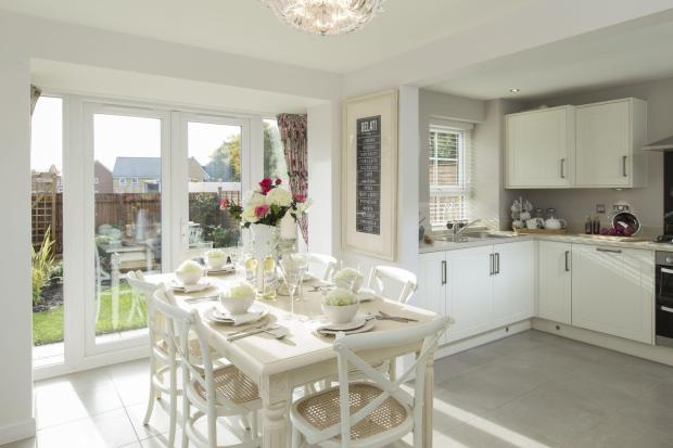 Typical Morpeth fitted kitchen and dining area with French doors