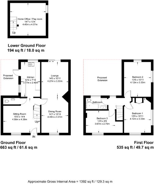 Floor plan showing 3 floors