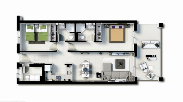 Floor plan 2 Hab (La