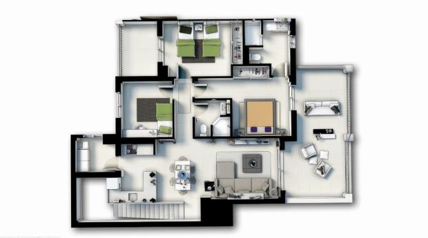 Floor plan 3 Hab (La