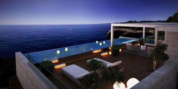 Roof terrace at nigh