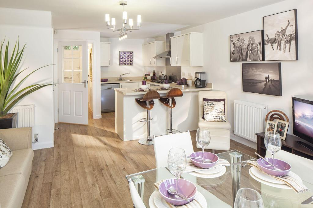 Kitchen, family and dining area