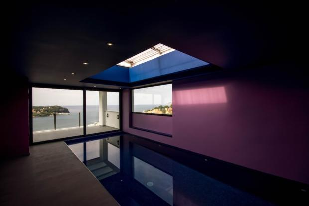 Indoor pool with sea