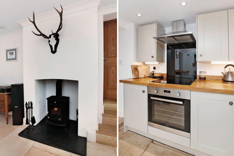 fireplace/kitchen