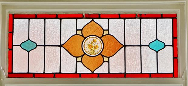 Original Stained glass sash windows in Living room. Leeds Road, Blackpool Estate agents. YOPA.  Original stained glass sash.JPG