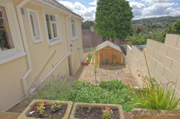 Rear tiered garden with shed