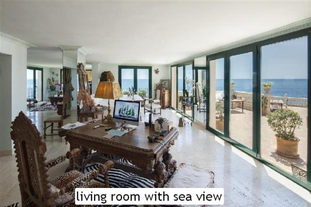 living room with sea
