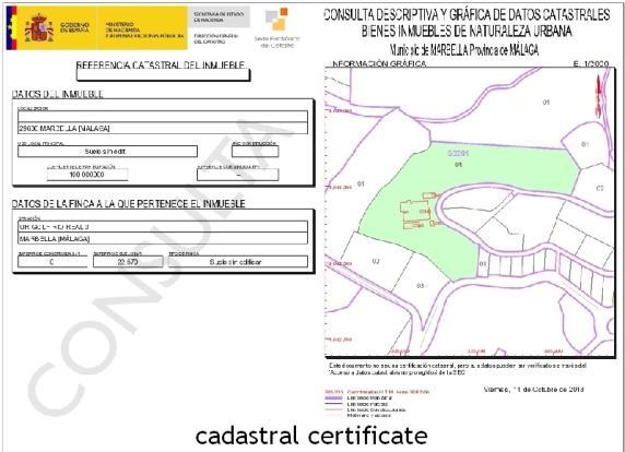 cadastral certificat