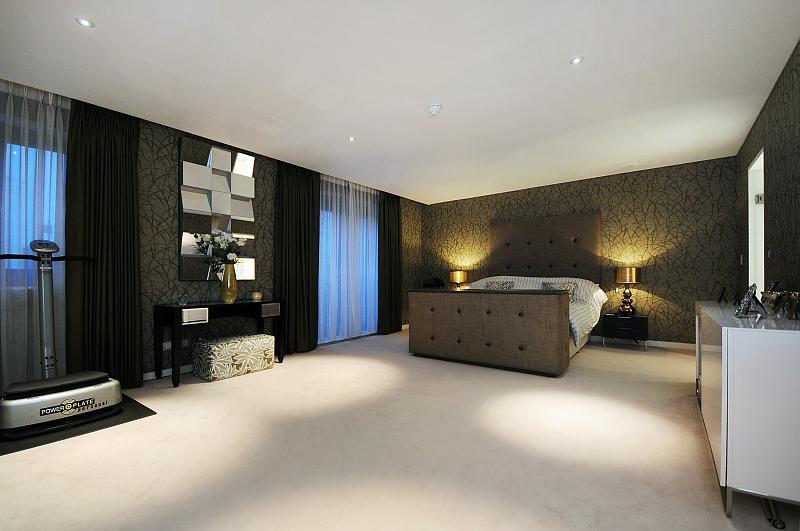 Photo Of Contemporary Beige Black White Bedroom With Wallpaper And
