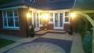 Rear patio at night