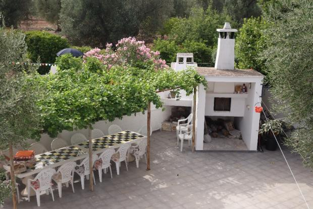 View to pizza oven