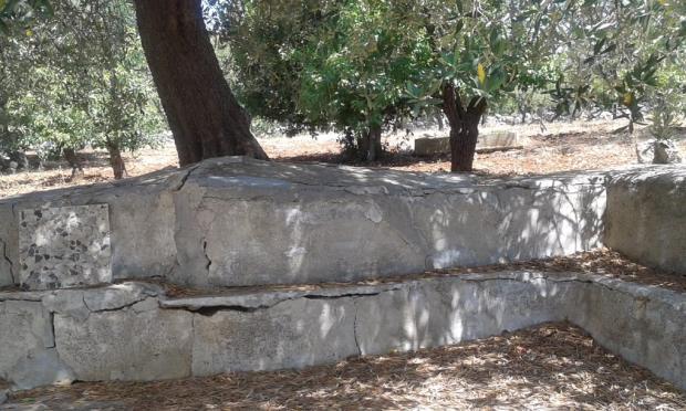 outside stone sofa