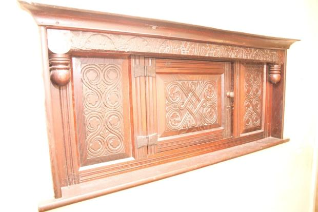 Carved oak hall c...