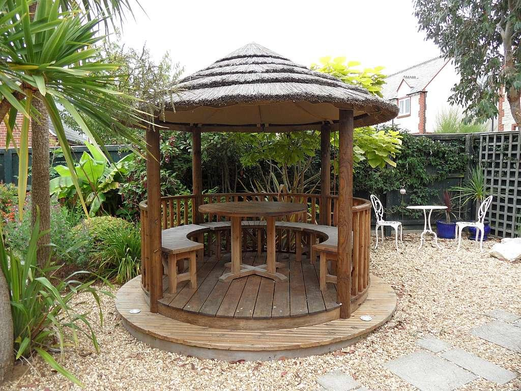Gazebo with outisde lighting and heaters
