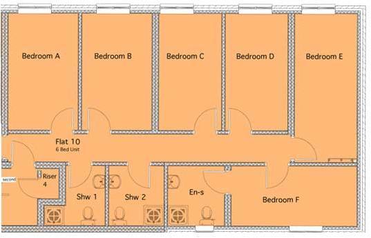 6 bed flat/1ensuite