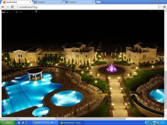 The Resort at night.
