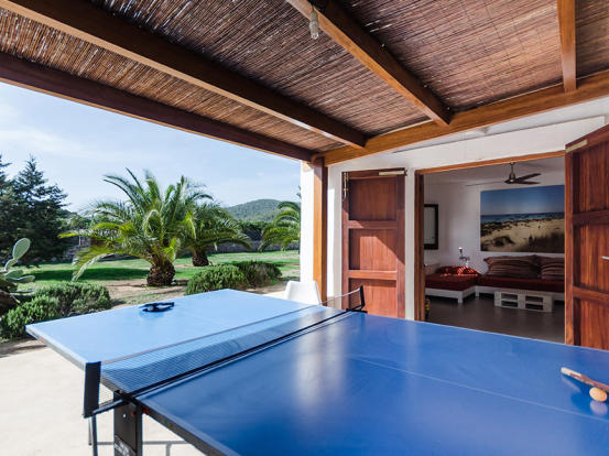 Ping pong area and view from guest room
