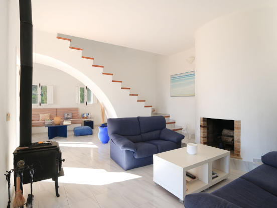Living area with chimney