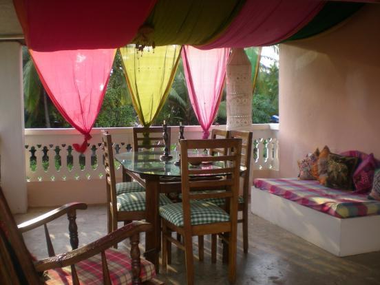 covered balcony area