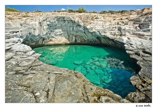 white marble pool