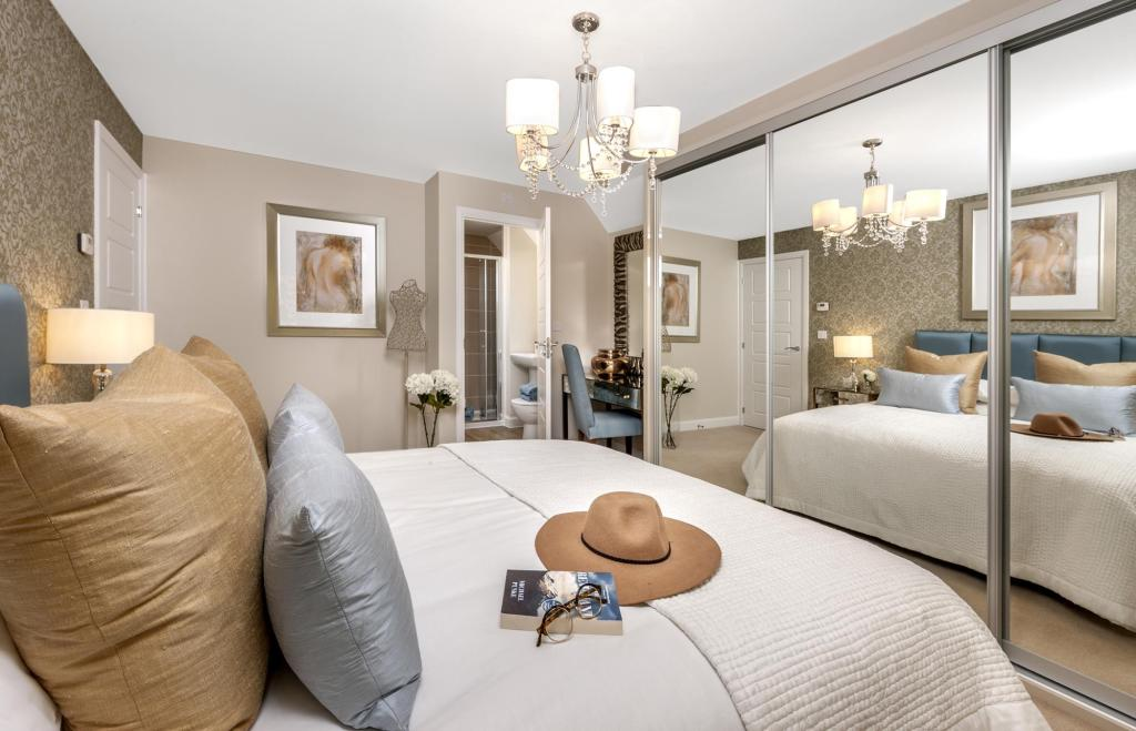 The Harborough master bedroom at Bishop Park, Henfield