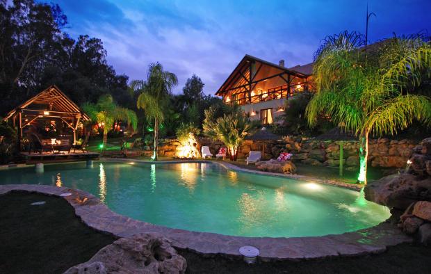 Night shot of Villa