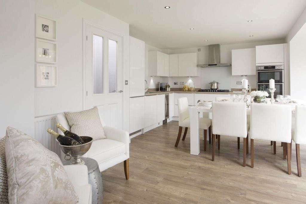 Kitchen with dining and family area