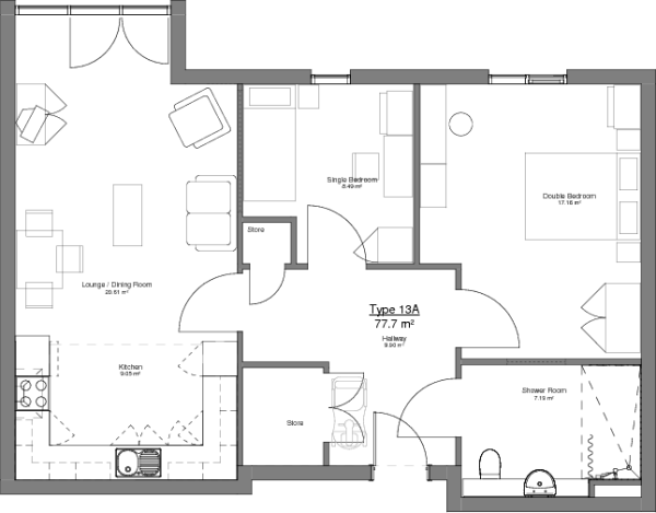Type 13A Floor Plan