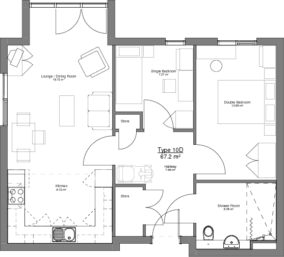 Type 10D Floor Plan