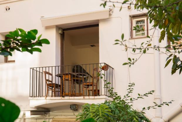 Balcony from garden