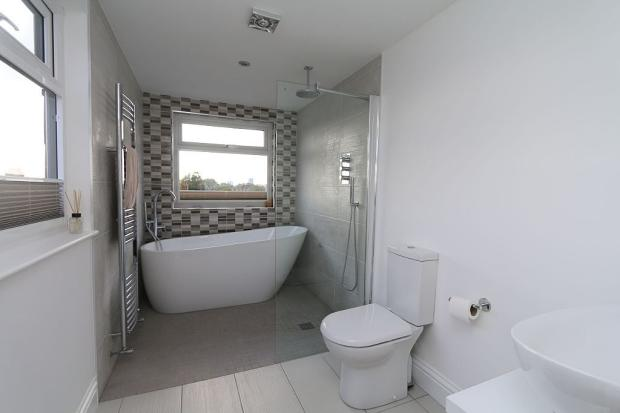 Bathroom with wet room area