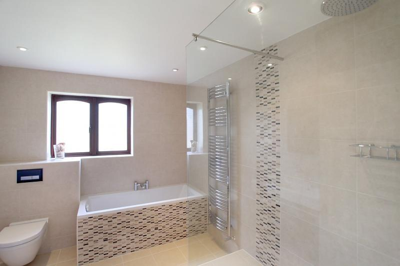 Beige White Bathroom With Bath Bath Tub Shower Shower Enclosure Tiles