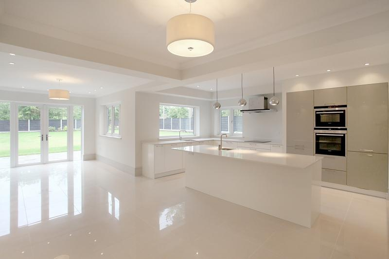 photo of beige white kitchen kitchen extension