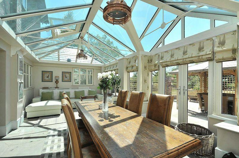 photo of cream turquoise white conservatory