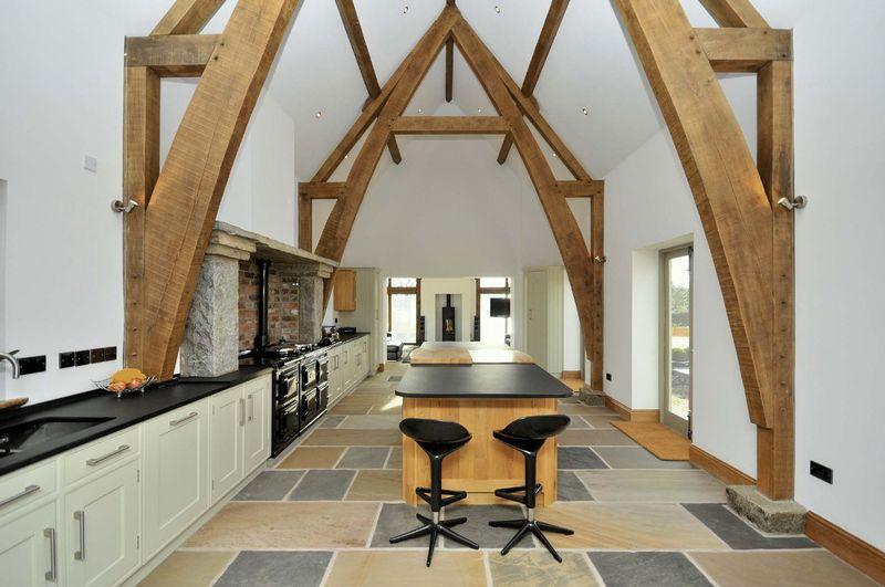 photo of beige white kitchen kitchen extension