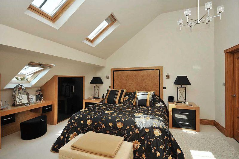 photo of beige bedroom loft conversion with velux windows
