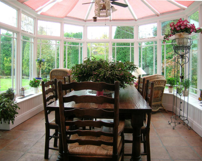 White conservatory dining room design ideas photos for Olive green dining room ideas