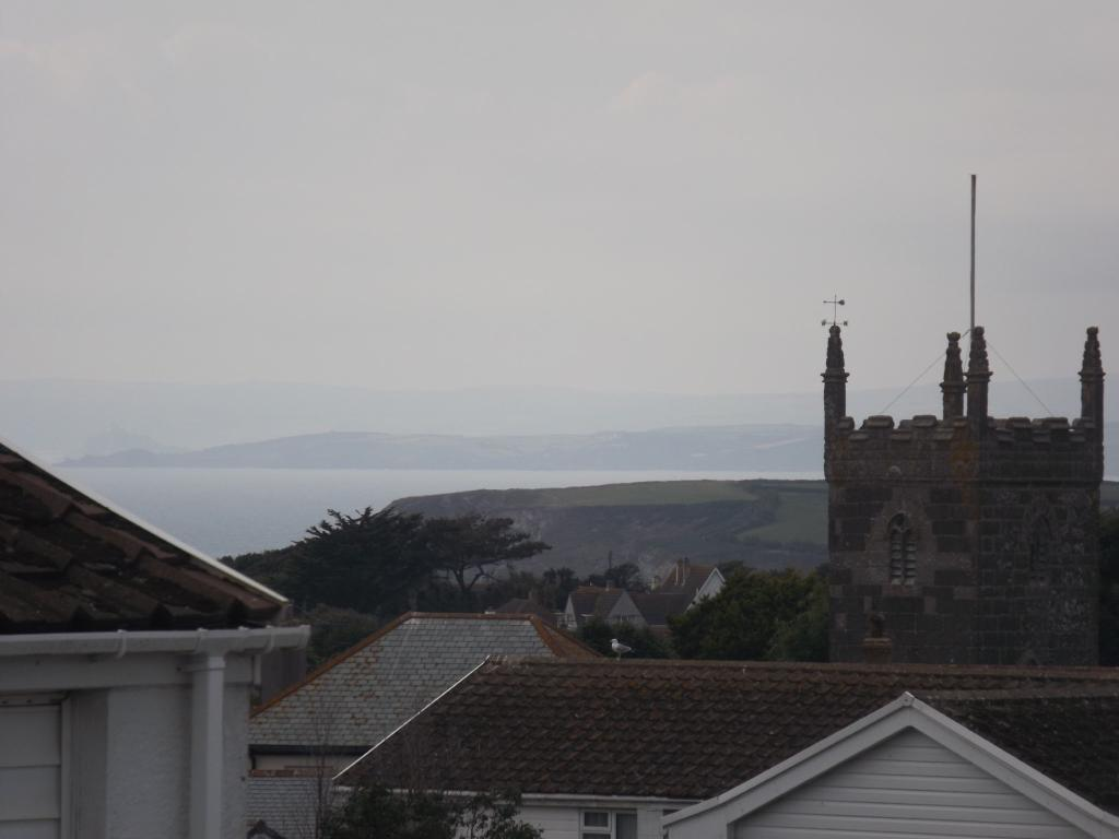 View over village to