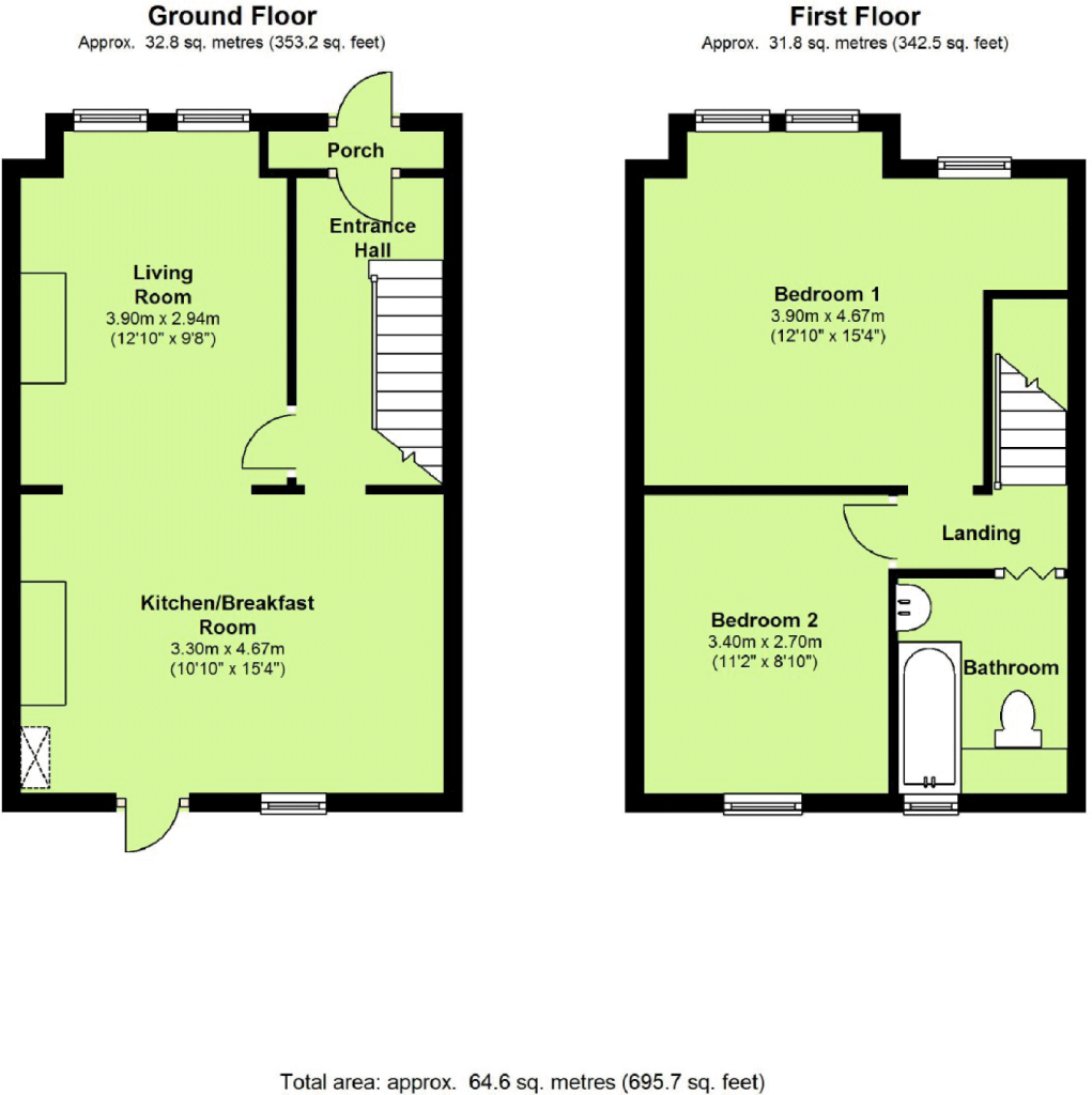 2 bedroom terraced house for sale in leyton road for Uk house floor plans