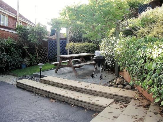 Decked patio