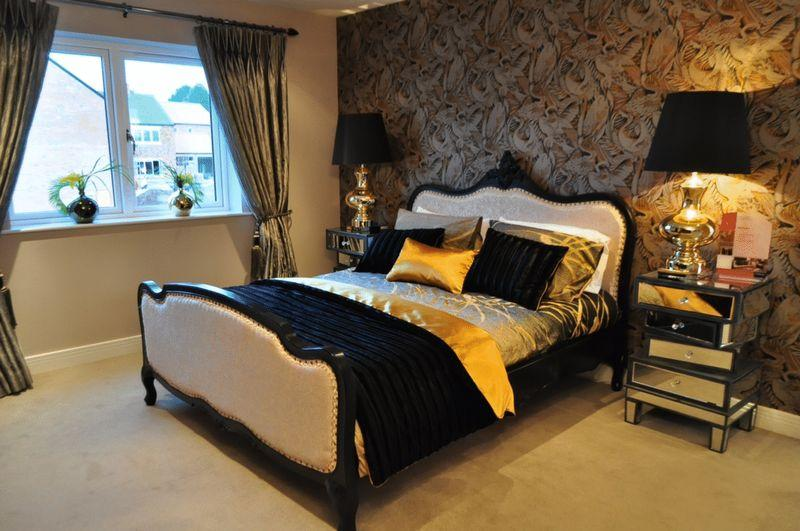Gold bedroom design ideas photos inspiration for Red and gold bedroom designs