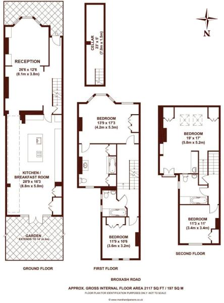 4 bedroom terraced house for sale in broxash road london sw11 sw11 Victorian kitchen design layout